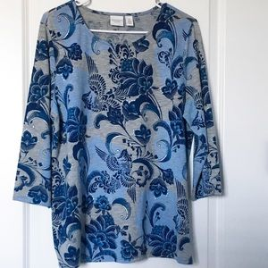 Chico's Weekends Size 2 Blue Floral Top